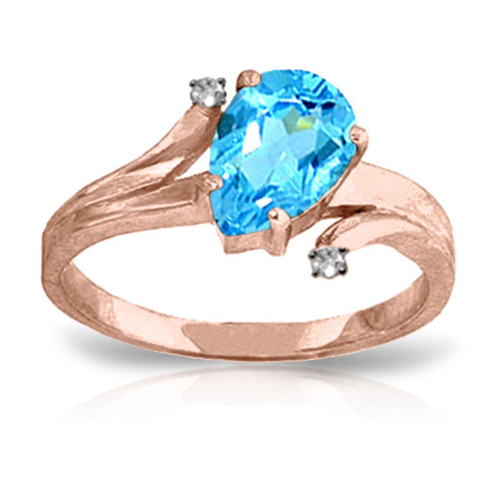 Genuine 1.51 ctw Blue Topaz & Diamond Ring Jewelry 14KT Rose Gold - REF-51K4V