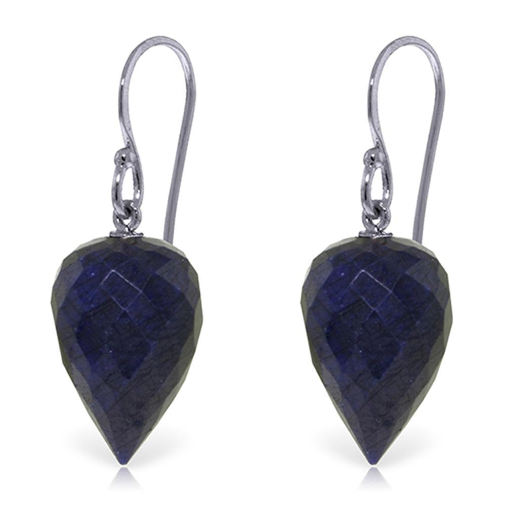 Genuine 25.8 ctw Sapphire Earrings Jewelry 14KT White Gold - REF-25N6R