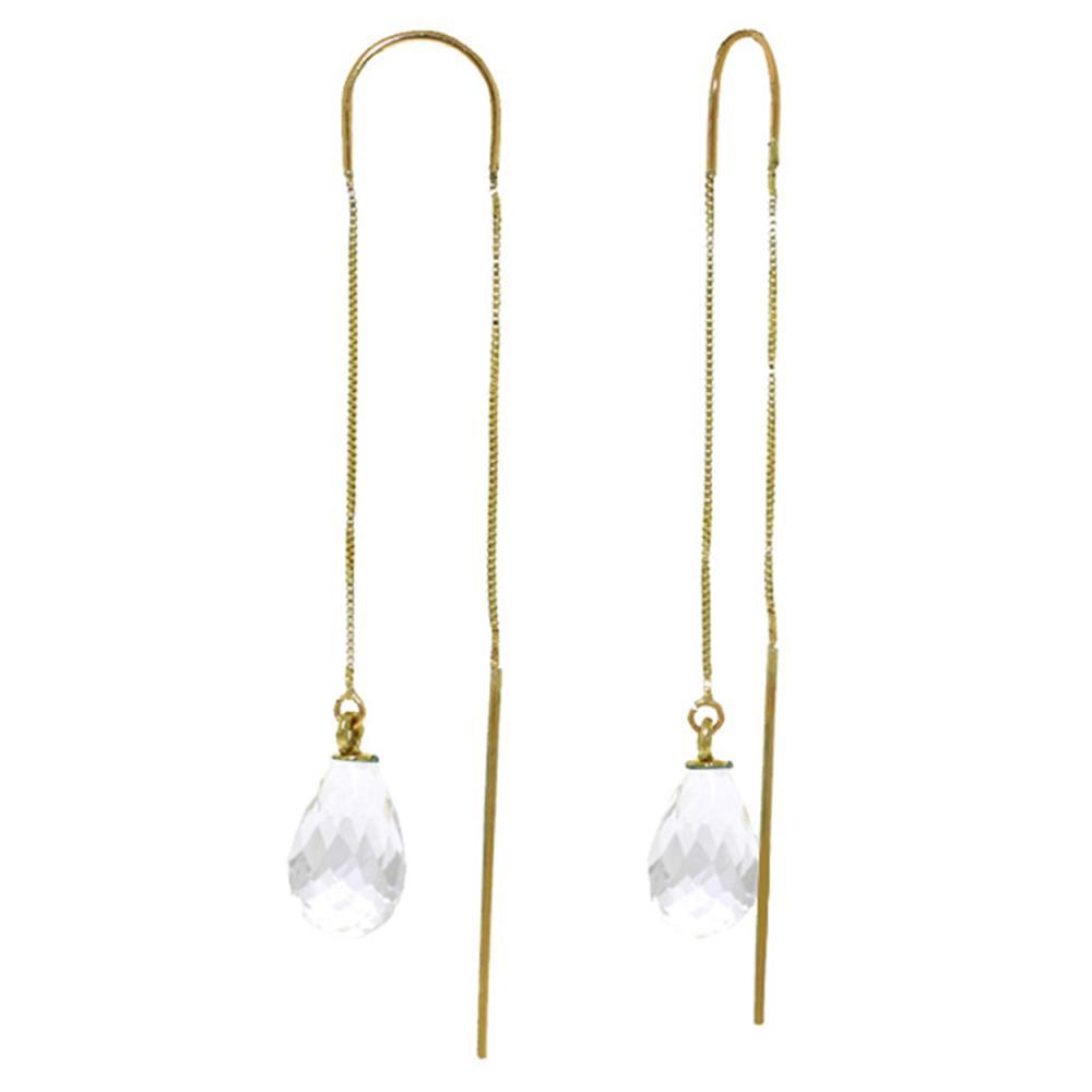 Genuine 4.5 ctw White Topaz Earrings Jewelry 14KT Yellow Gold - REF-20W4Y