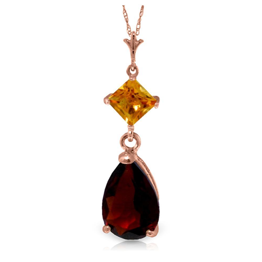 Genuine 2 ctw Garnet & Citrine Necklace Jewelry 14KT Rose Gold - REF-24P3H
