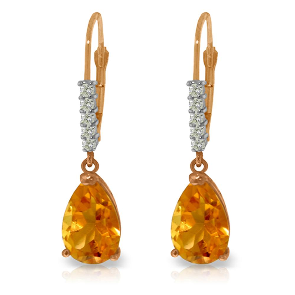 Genuine 3.15 ctw Citrine & Diamond Earrings Jewelry 14KT Rose Gold - REF-44X3M