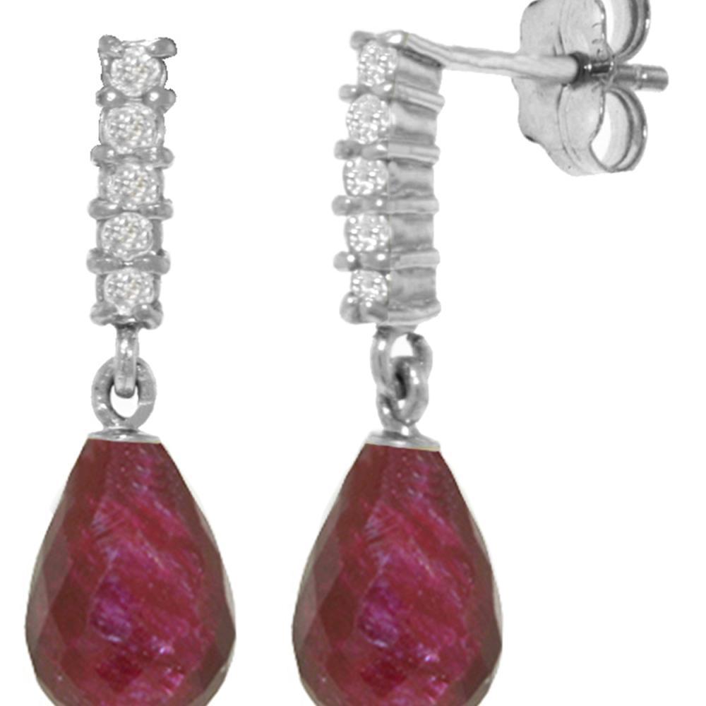 Genuine 6.75 ctw Ruby & Diamond Earrings Jewelry 14KT White Gold - REF-39W4Y