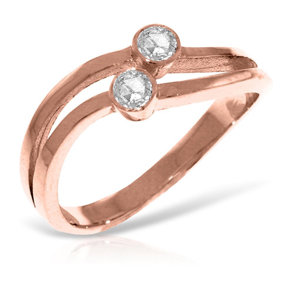 Genuine 0.20 ctw Diamond Anniversary Ring Jewelry 14KT Rose Gold - REF-63X3M