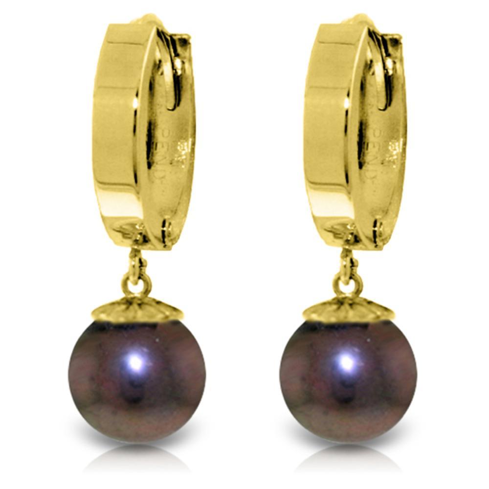Genuine 4 ctw Black Pearl Earrings Jewelry 14KT Yellow Gold - REF-22T5A