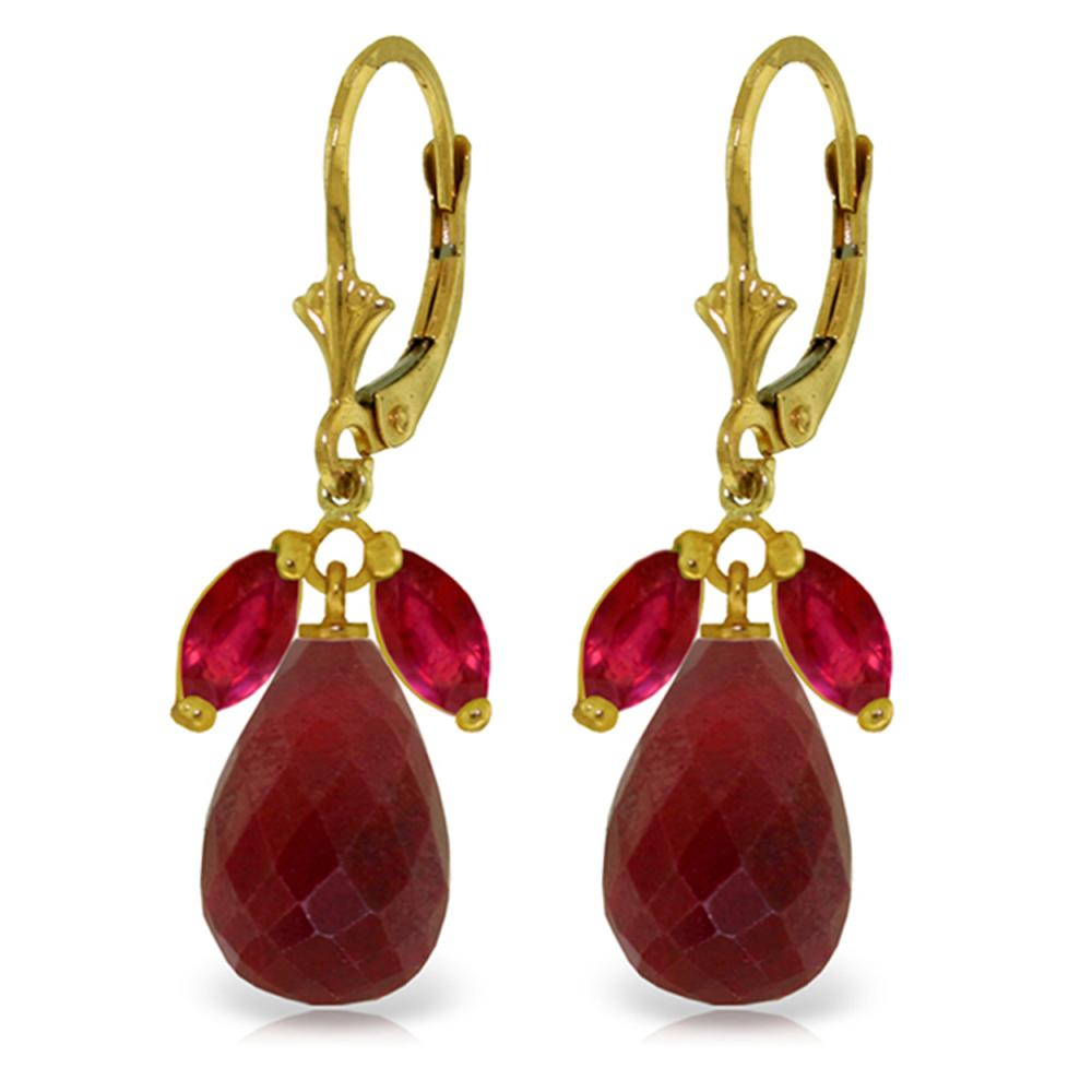 Genuine 18.6 ctw Ruby Earrings Jewelry 14KT Yellow Gold - REF-49M3T