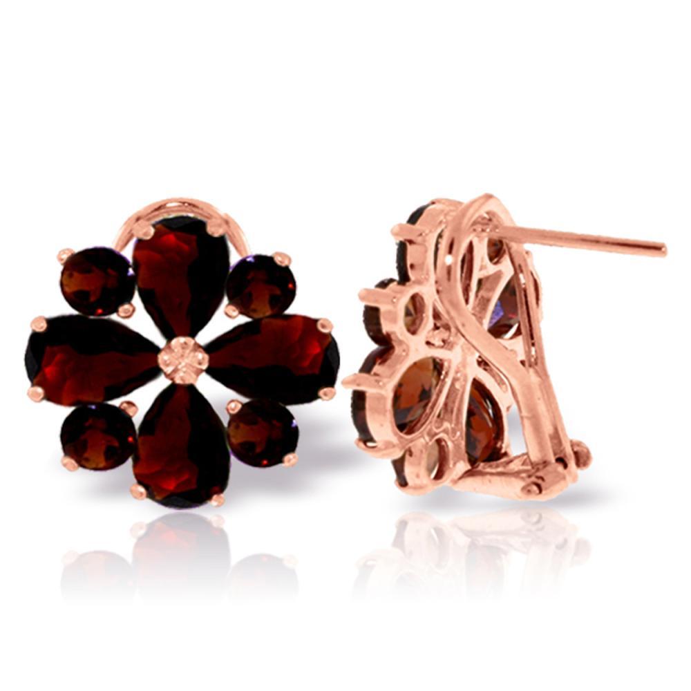 Genuine 4.85 ctw Garnet Earrings Jewelry 14KT Rose Gold - REF-58H4X