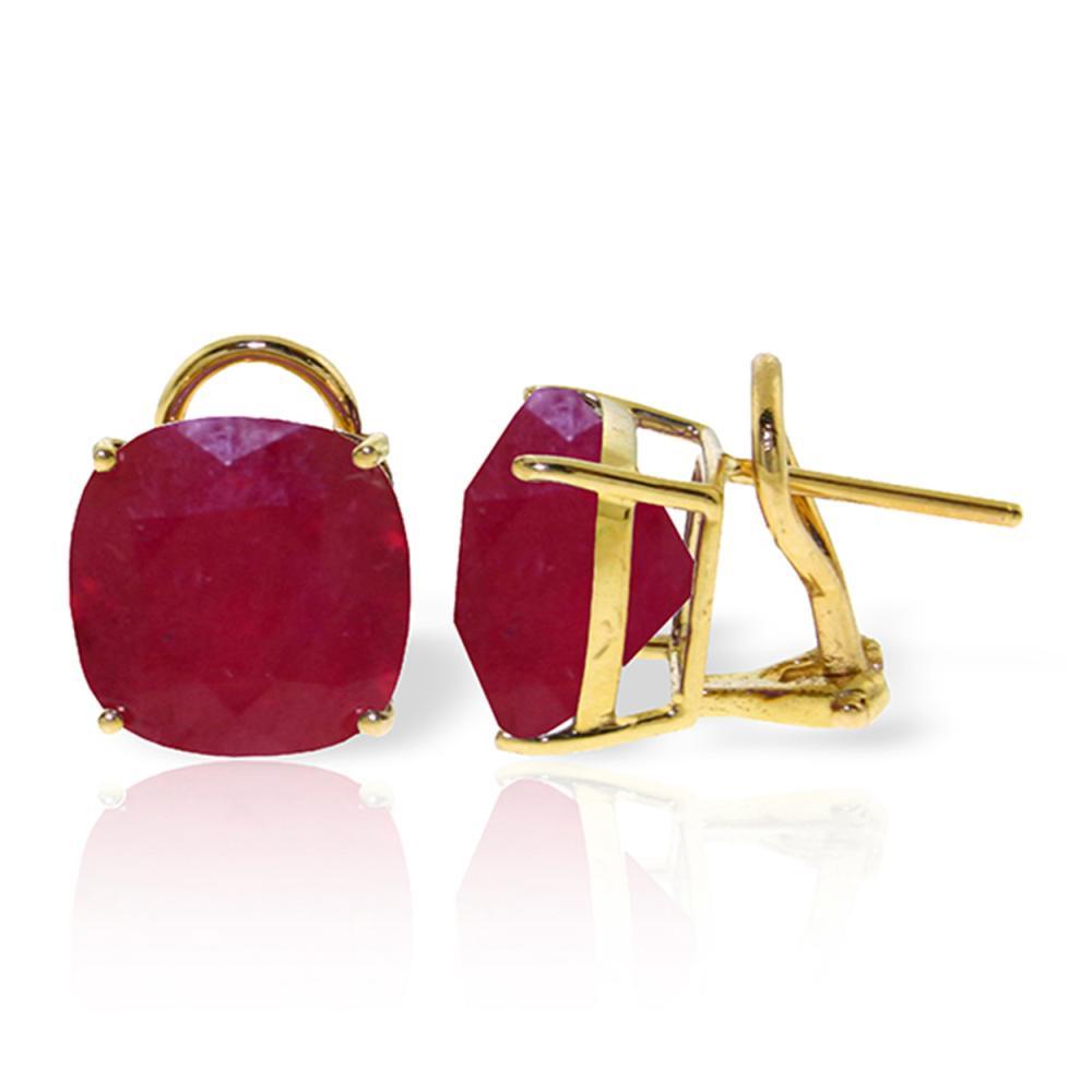 Genuine 13.5 ctw Ruby Earrings Jewelry 14KT Yellow Gold - REF-118X2M