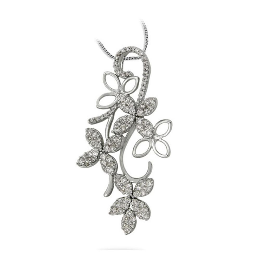 1.3 CTW Diamond Necklace 14K White Gold - REF-103Y8X