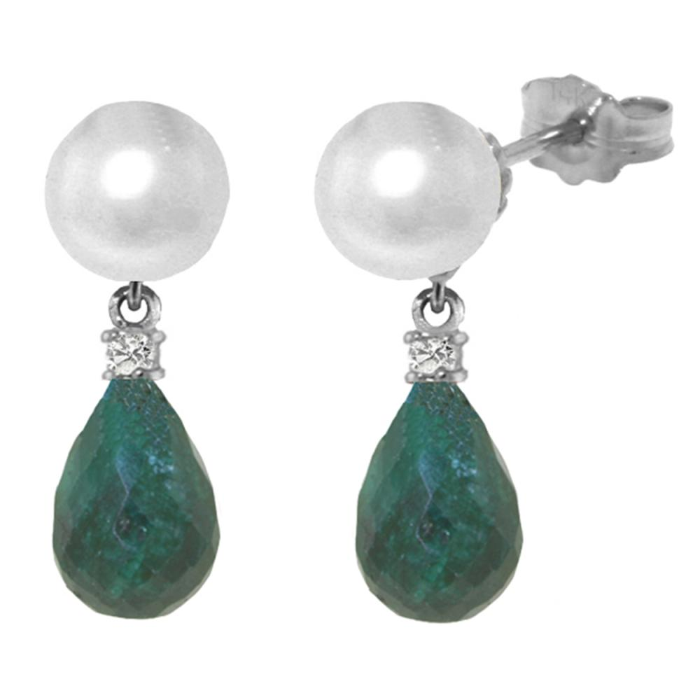 Genuine 8.7 ctw Pearl, Green Sapphire Corundum & Diamond Earrings Jewelry 14KT White Gold - REF-27X6M
