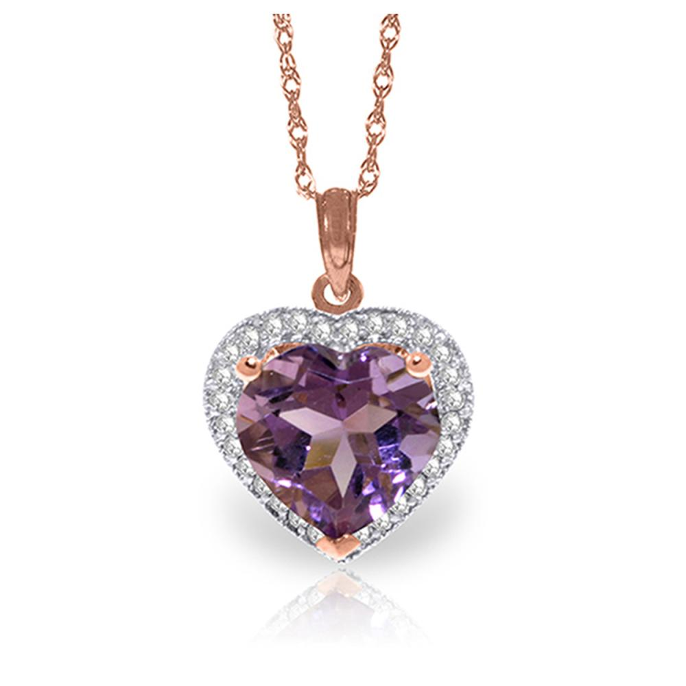 Genuine 3.24 ctw Amethyst & Diamond Necklace Jewelry 14KT Rose Gold - REF-59W3Y