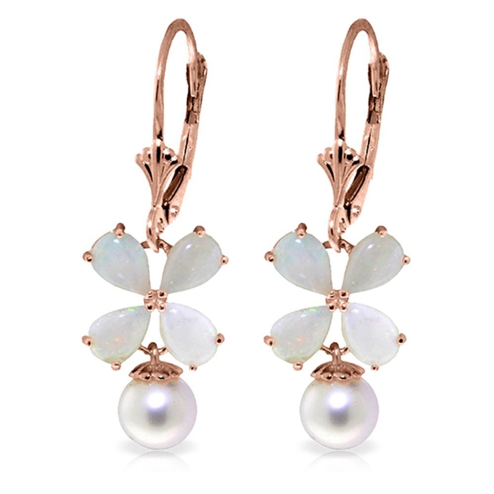 Genuine 6 ctw Opal & Pearl Earrings Jewelry 14KT Rose Gold - REF-50R7P