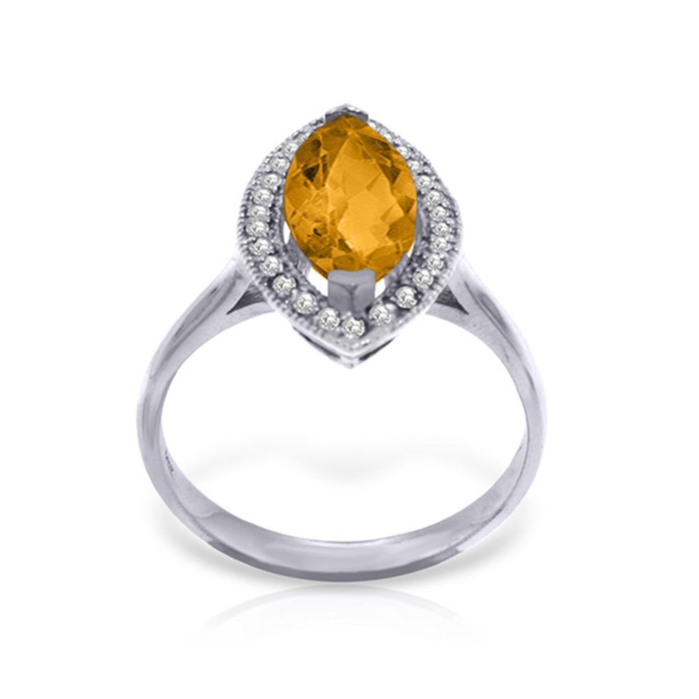 Genuine 1.80 ctw Citrine & Diamond Ring Jewelry 14KT White Gold - REF-70W5Y