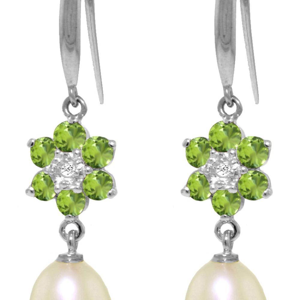 Genuine 9.01 ctw Peridot, Pearl & Diamond Earrings Jewelry 14KT White Gold - REF-44V3W
