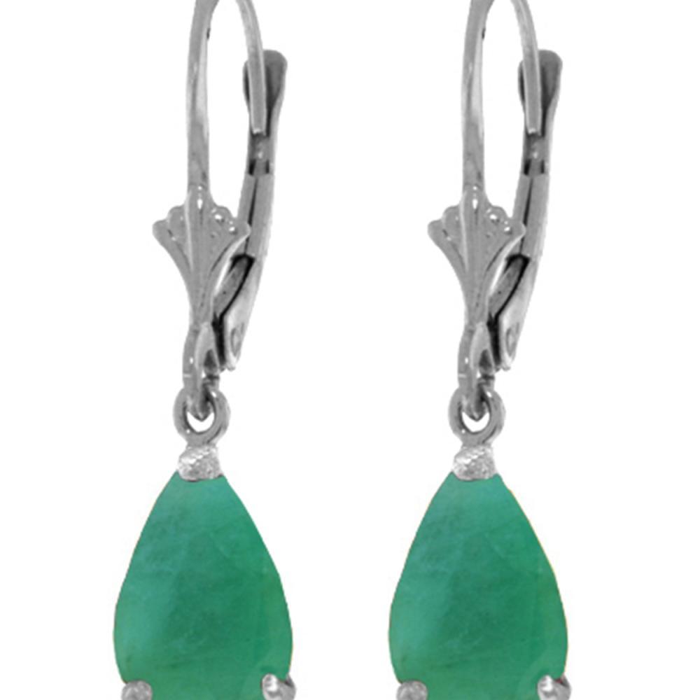 Genuine 2 ctw Emerald Earrings Jewelry 14KT White Gold - REF-43Y9F