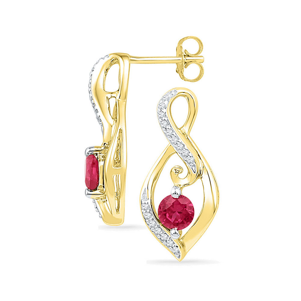 0.98 CTW Created Ruby Solitaire Oval Diamond Earrings 10KT Yellow Gold - REF-19W4K
