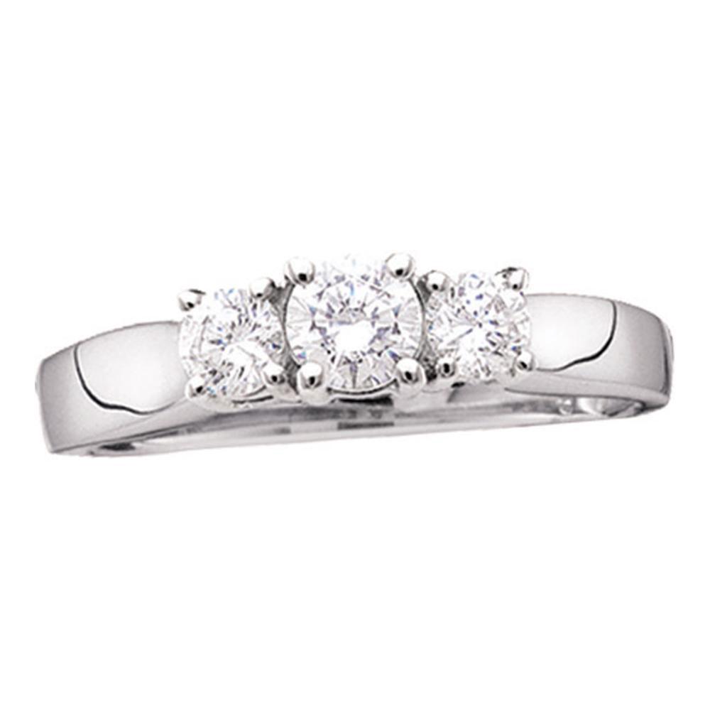 0.97 CTW Diamond 3-stone Bridal Engagement Ring 14KT White Gold - REF-116X9Y