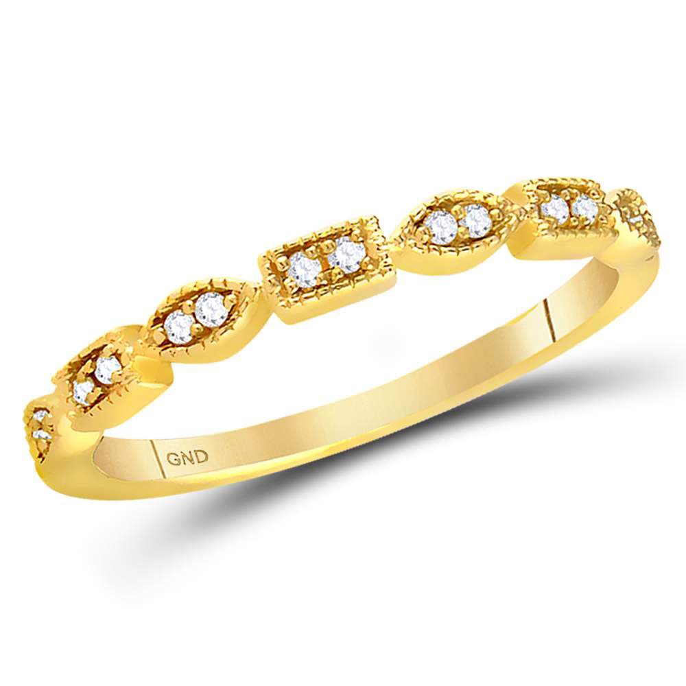 0.09 CTW Diamond Stackable Ring 14KT Yellow Gold - REF-22K4W