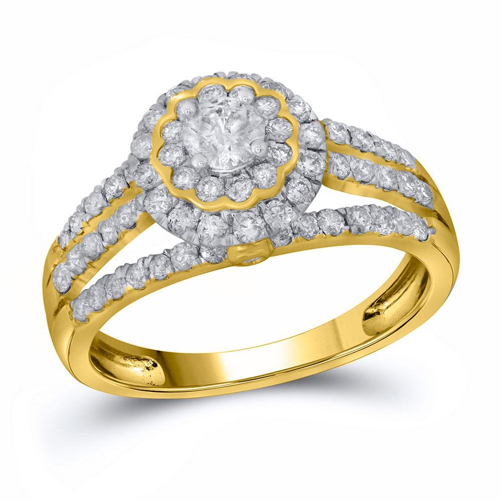 0.99 CTW Diamond Halo Bridal Engagement Ring 14KT Yellow Gold - REF-97N4F
