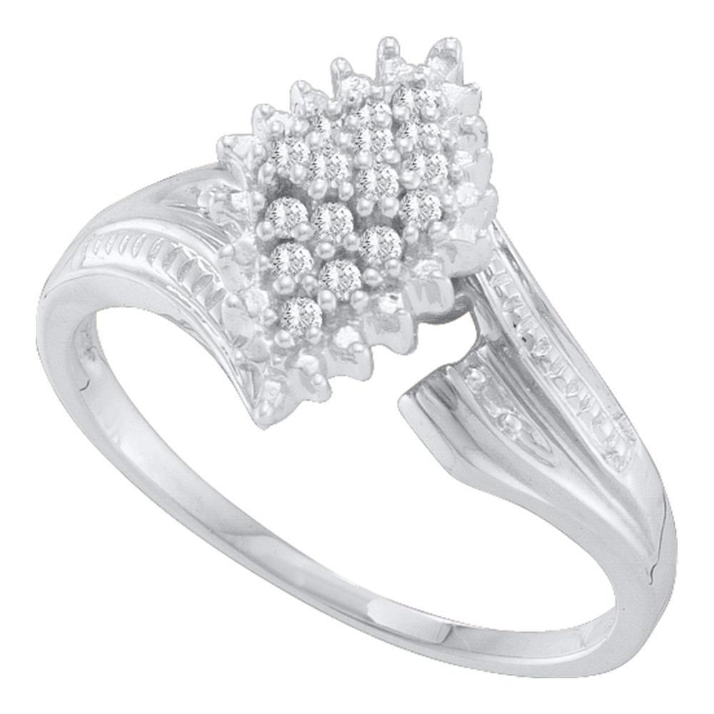 0.12 CTW Prong-set Diamond Oval Cluster Ring 10KT White Gold - REF-18K2W