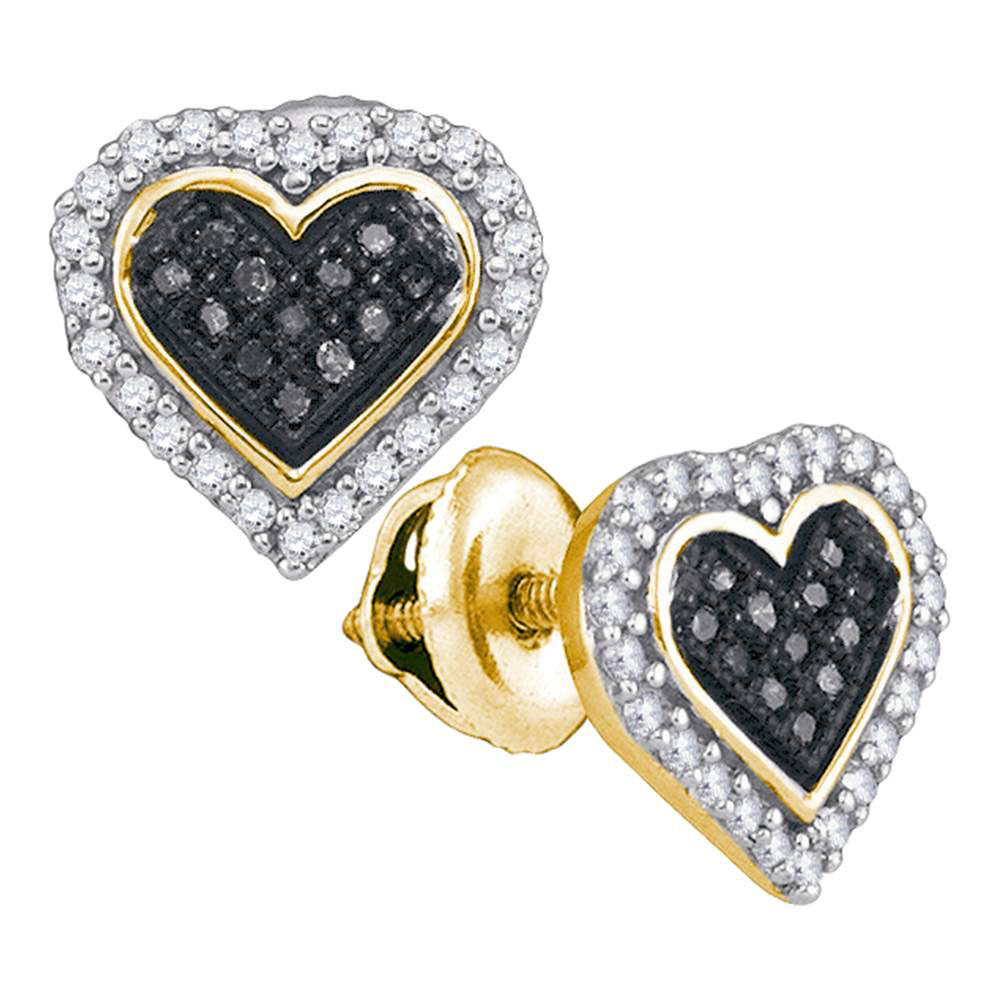 0.25 CTW Black Color Diamond Heart Cluster Stud Earrings 10KT Yellow Gold - REF-18F2N