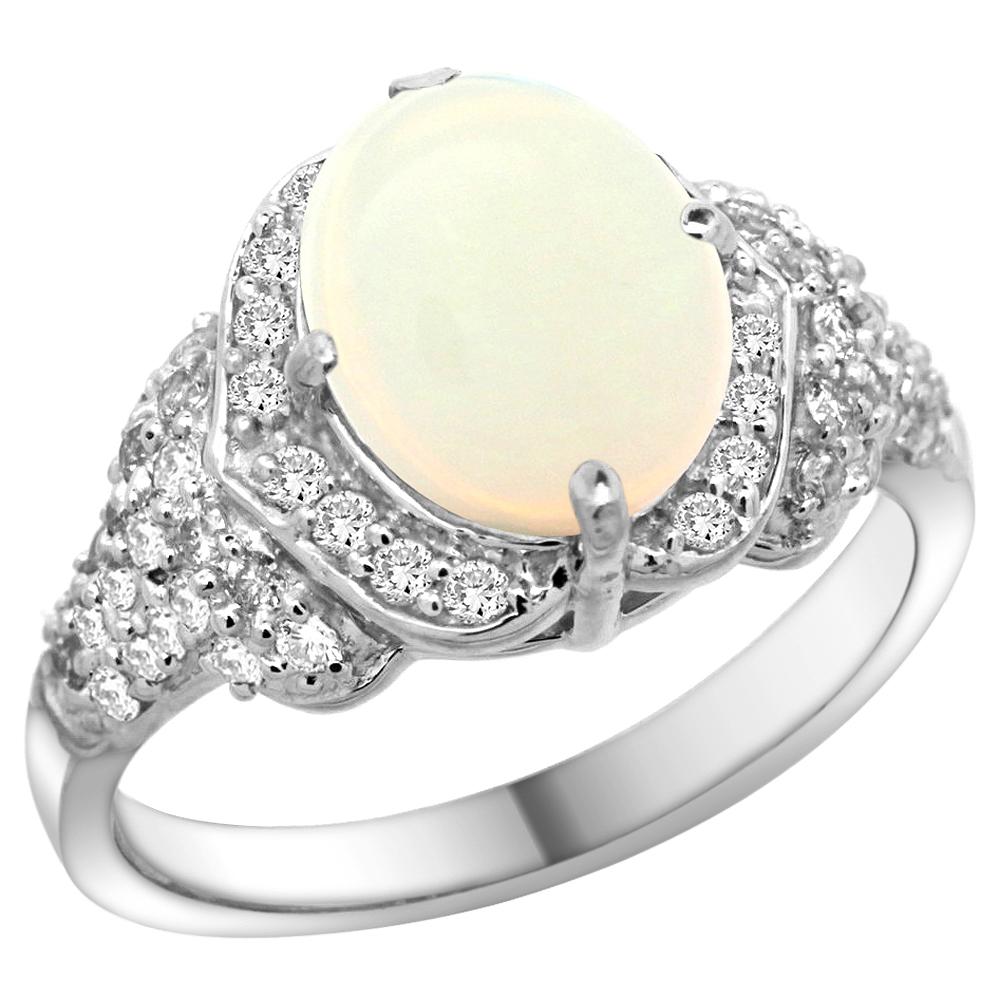 Natural 1.93 ctw opal & Diamond Engagement Ring 14K White Gold - REF-101N9G