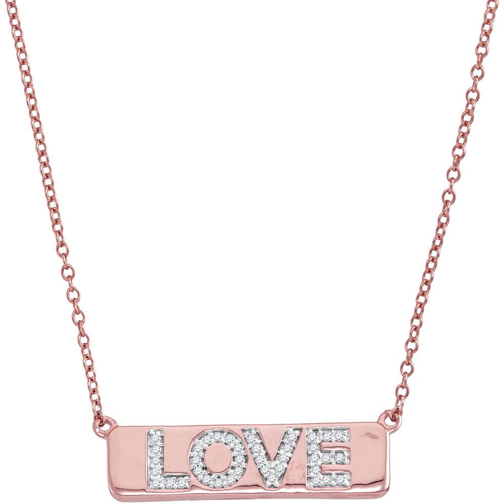 0.12 CTW Diamond Pink Love Bar Pendant 10KT Rose Gold - REF-30Y2X