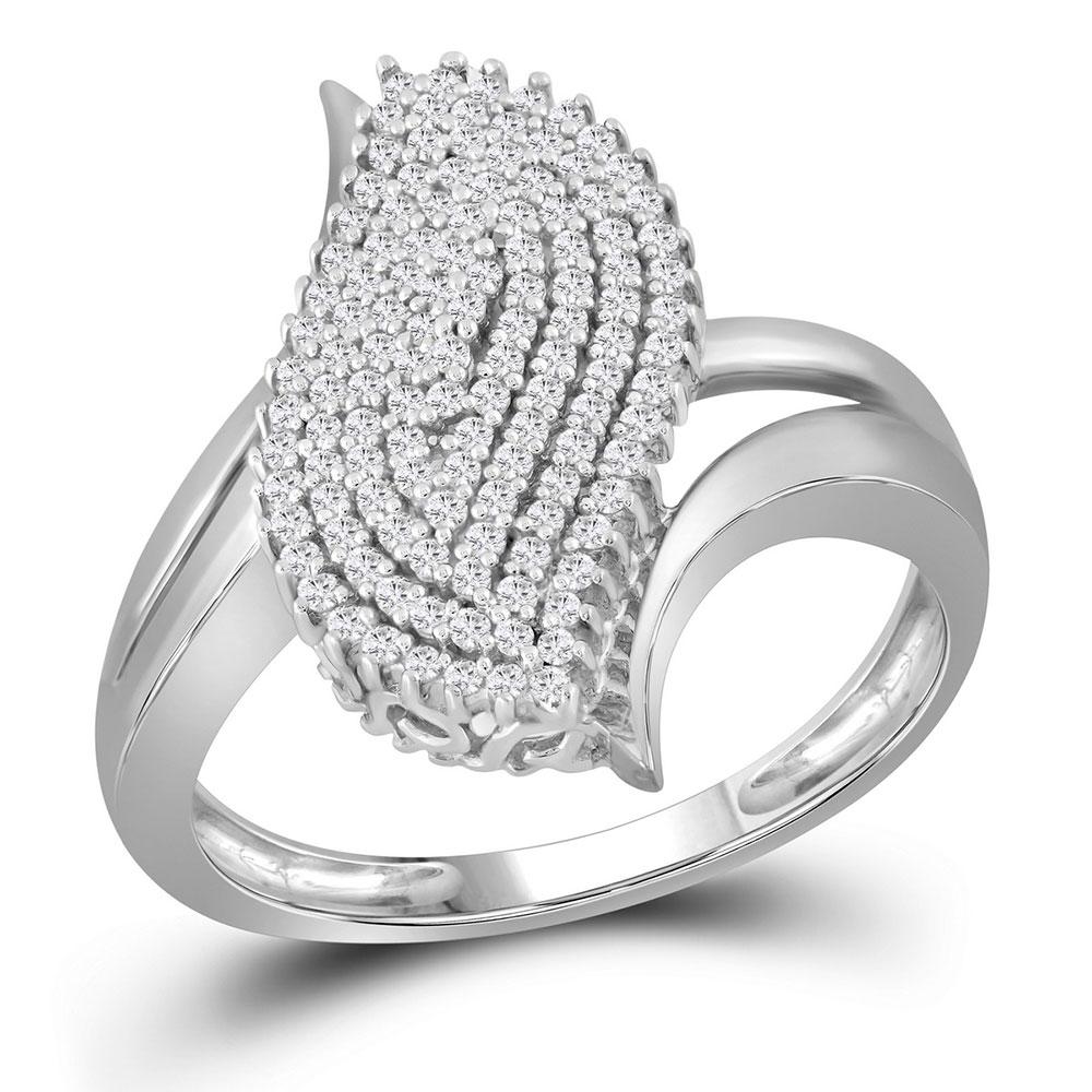 0.40 CTW Diamond Oval Cluster Ring 10KT White Gold - REF-30K2W