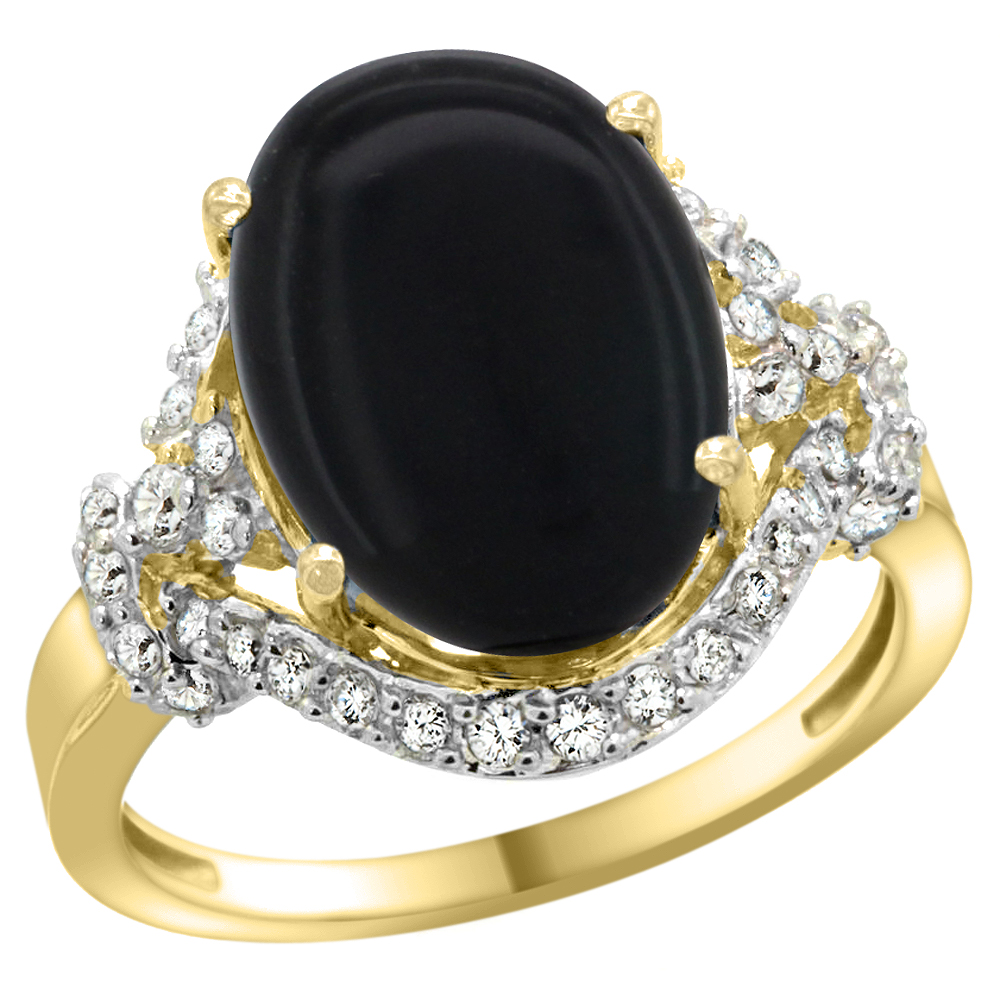Natural 3.63 ctw onyx & Diamond Engagement Ring 14K Yellow Gold - REF-82R2Z
