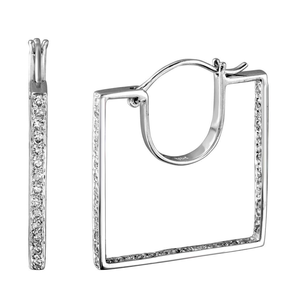 0.56 CTW Diamond Earrings 14K White Gold - REF-52N7Y