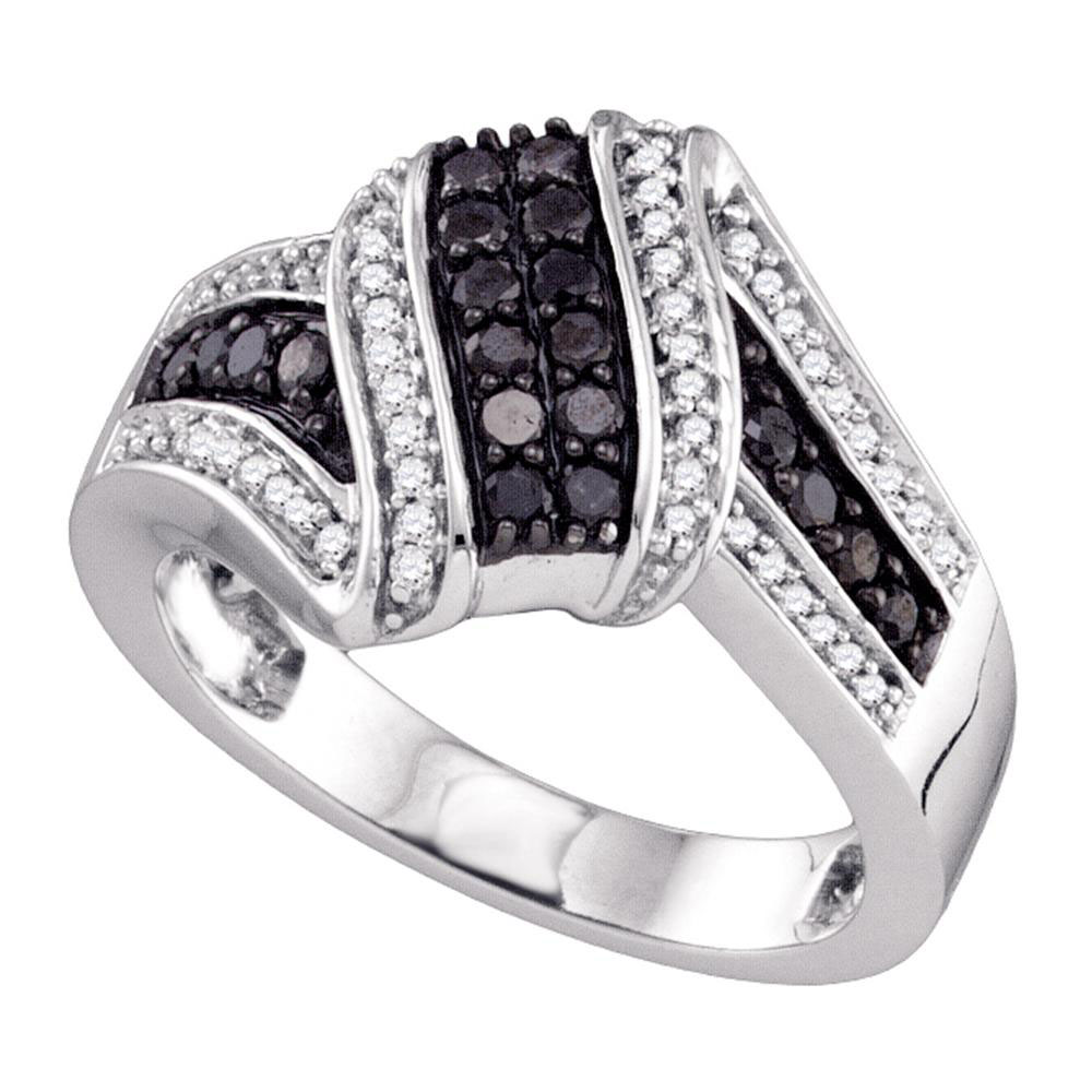 0.55 CTW Black Color Diamond Cluster Ring 10KT White Gold - REF-41M9H