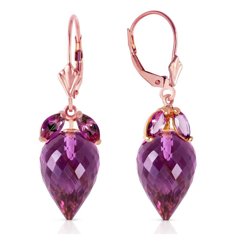 Genuine 20 ctw Amethyst Earrings Jewelry 14KT Rose Gold - REF-51A8K