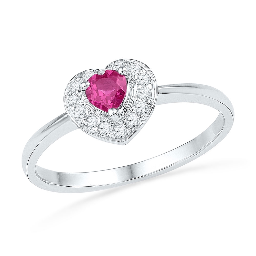 0.10 CTW Created Pink Sapphire Heart Love Ring 10KT White Gold - REF-12M2H
