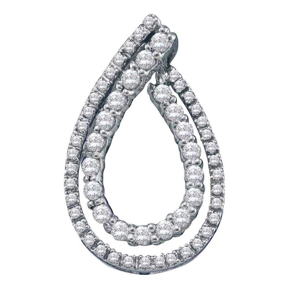 0.50 CTW Diamond Double Teardrop Pendant 10KT White Gold - REF-37M5H