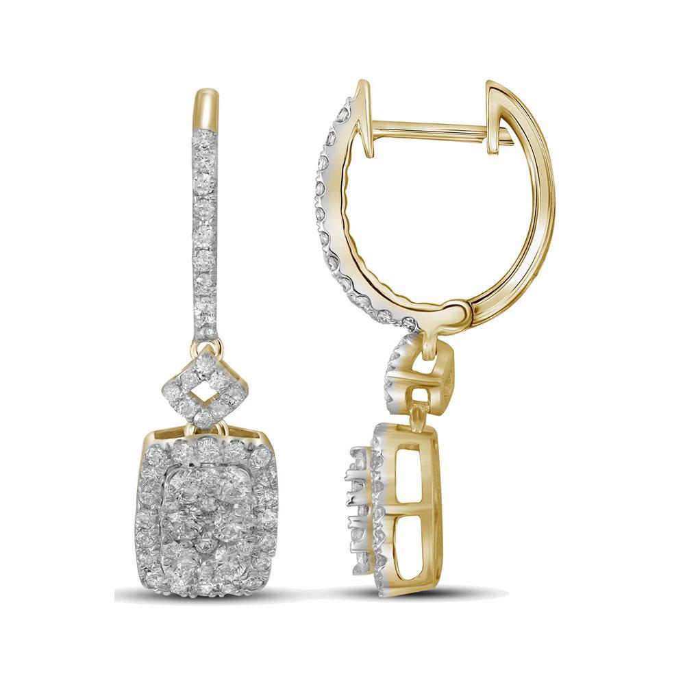 0.82 CTW Diamond Rectangle Dangle Hoop Earrings 14KT Yellow Gold - REF-109Y4X