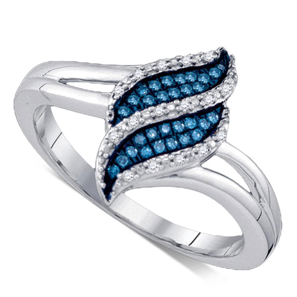 0.10 CTW Blue Color Diamond Cluster Ring 10KT White Gold - REF-22H4M