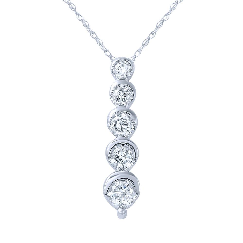 0.53 CTW Diamond Necklace 14K White Gold - REF-53F5N