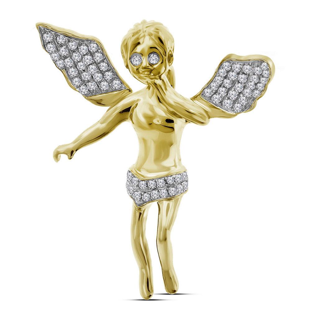 0.40 CTW Mens Diamond Guardian Angel Wings Cherub Charm Pendant 10KT Yellow Gold - REF-41H9M