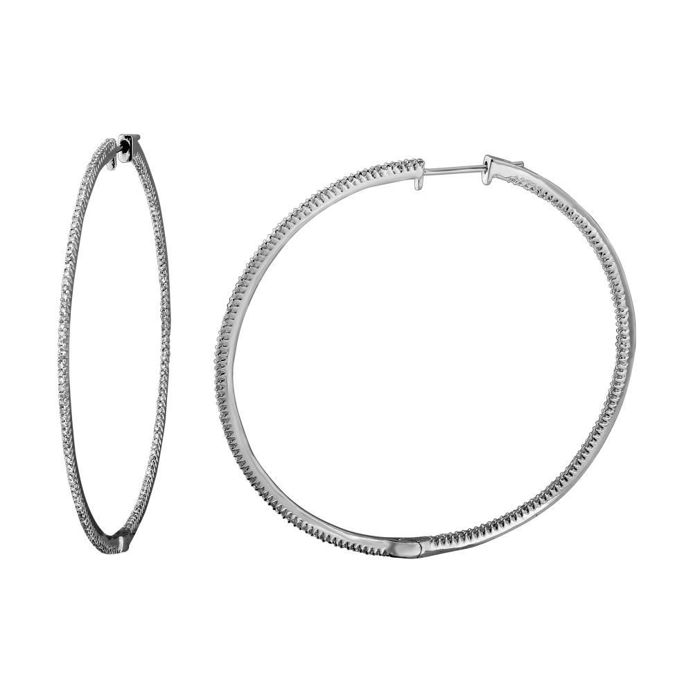 0.98 CTW Diamond Earrings 14K White Gold - REF-84H9M