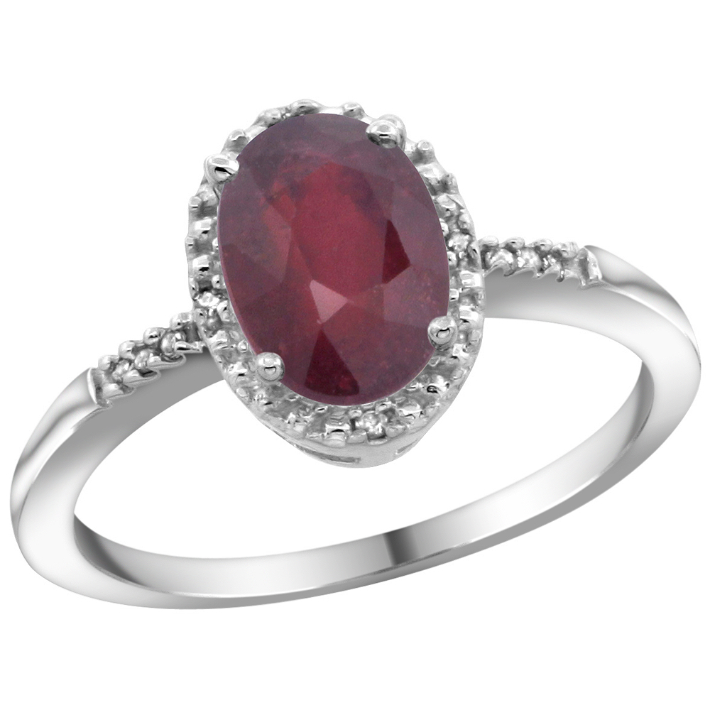Natural 1.5 ctw Ruby & Diamond Engagement Ring 10K White Gold - REF-31Y3X