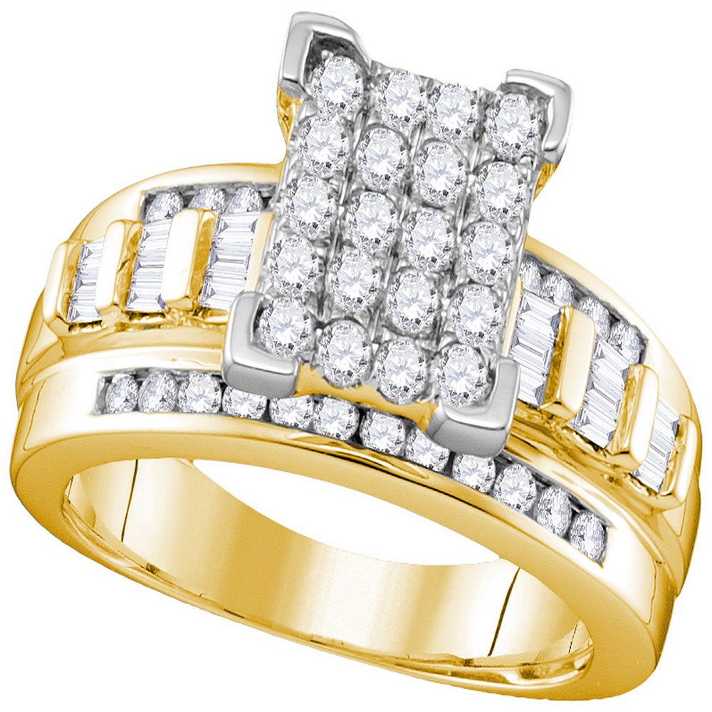 2 CTW Diamond Cluster Bridal Engagement Ring 10KT Yellow Gold - REF-116W9K
