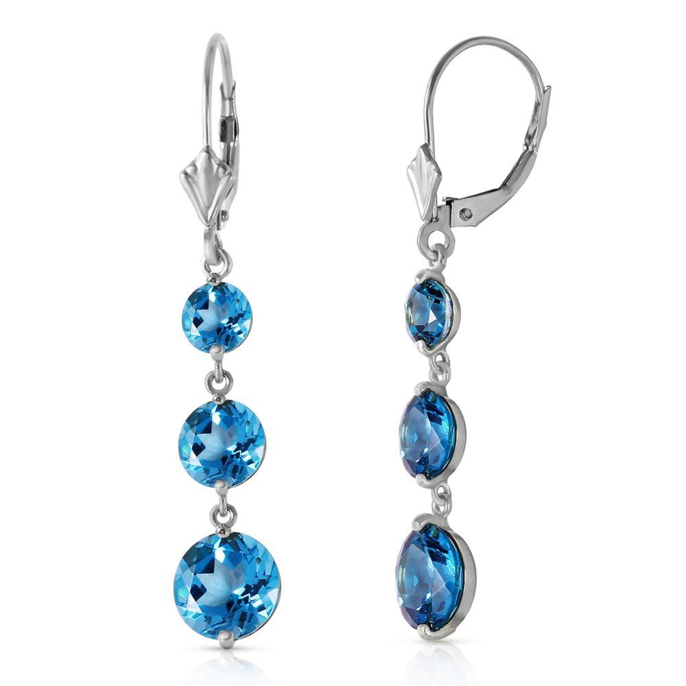 Genuine 7.2 ctw Blue Topaz Earrings Jewelry 14KT White Gold - REF-42K6V