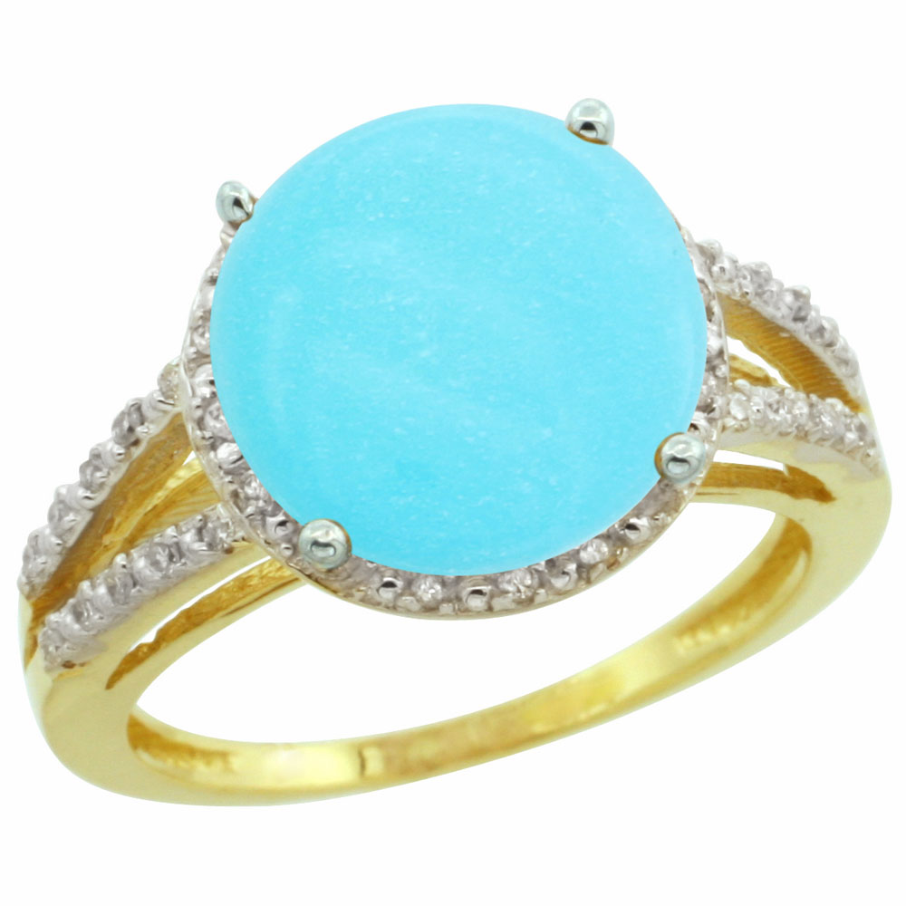 Natural 5.34 ctw Turquoise & Diamond Engagement Ring 14K Yellow Gold - REF-60W2K