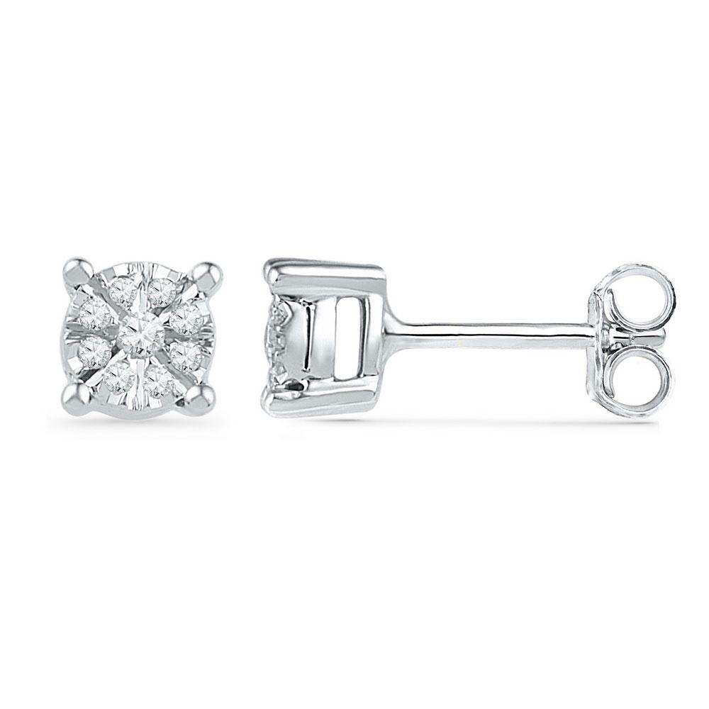 0.14 CTW Diamond Cluster Screwback Earrings 10KT White Gold - REF-24Y2X