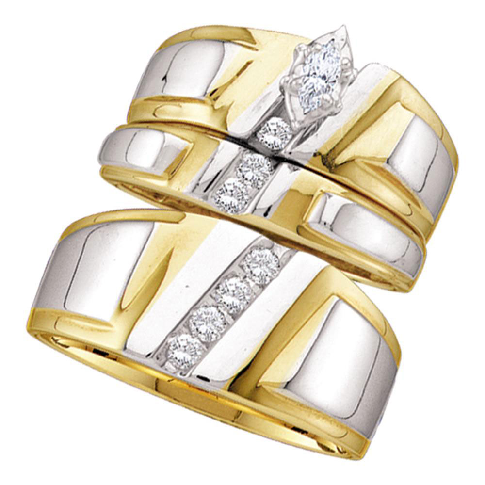 0.25 CTW His & Hers Marquise Diamond Solitaire Matching Bridal Ring 14KT Yellow Gold - REF-75X2Y