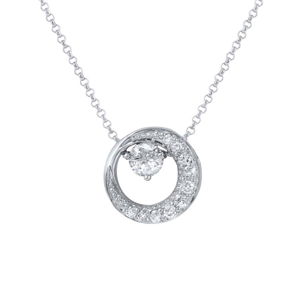 0.66 CTW Diamond Necklace 14K White Gold - REF-63R2K