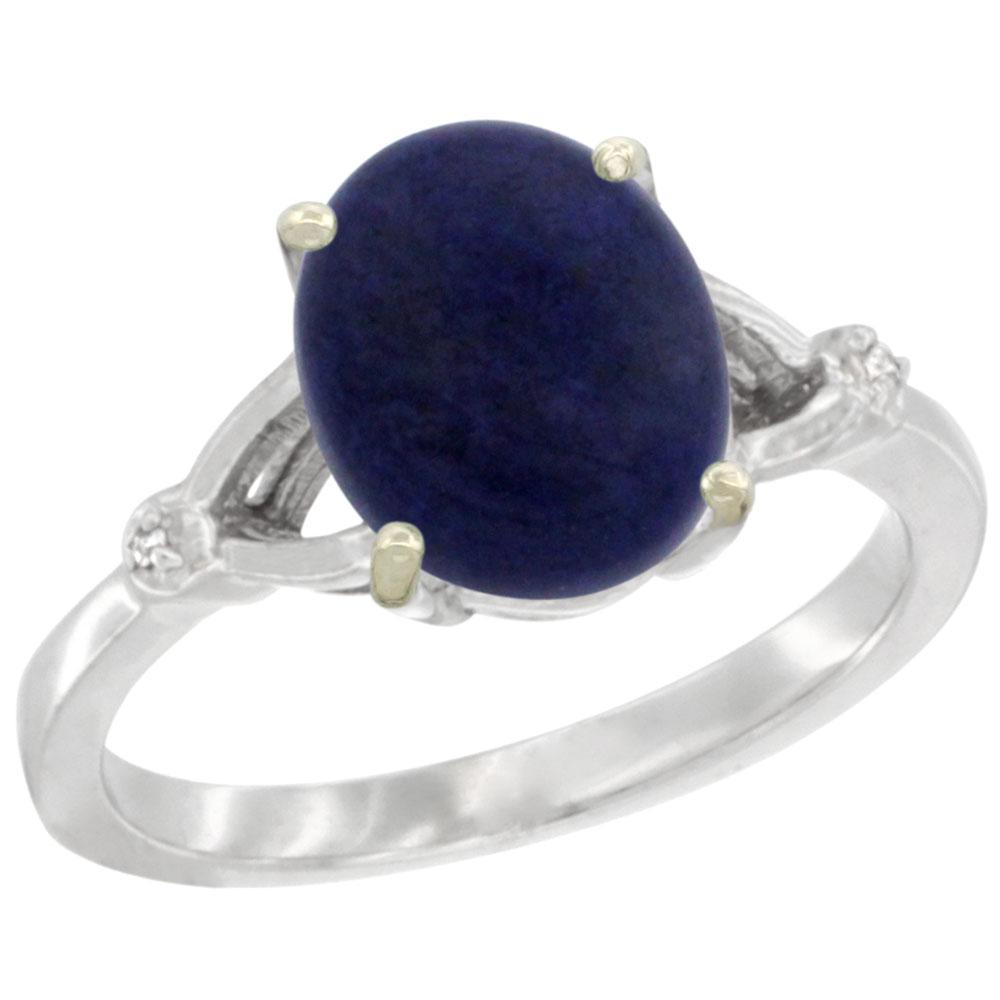 Natural 2.51 ctw Lapis & Diamond Engagement Ring 14K White Gold - REF-31F7N