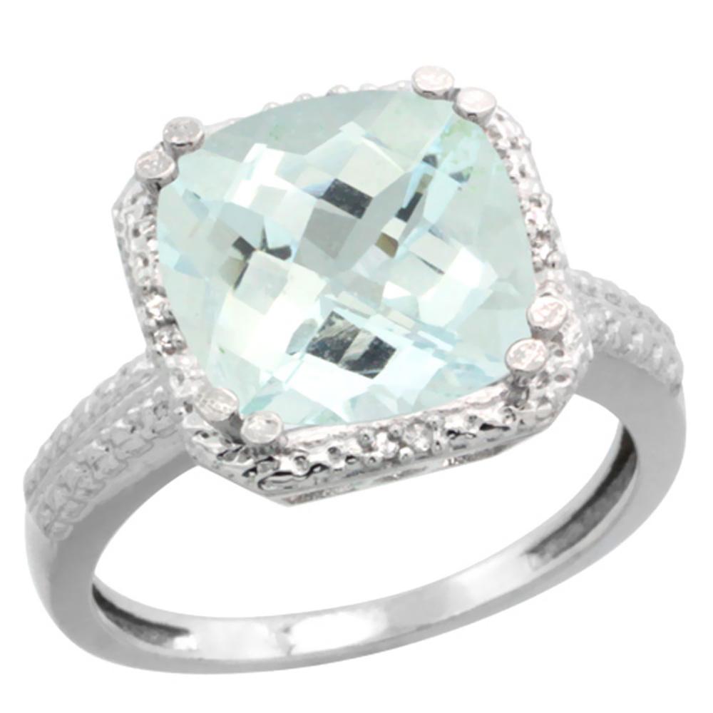 Natural 4.89 ctw Aquamarine & Diamond Engagement Ring 10K White Gold - REF-60V3F