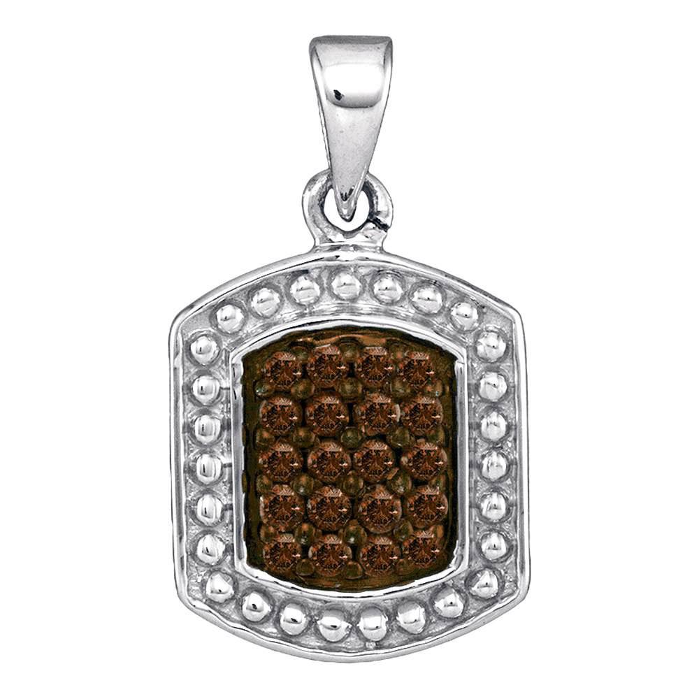 0.20 CTW Cognac-brown Color Diamond Cluster Tag Pendant 10KT White Gold - REF-9M7H