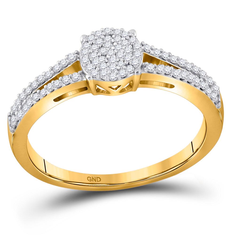 0.20 CTW Diamond Split-shank Circle Cluster Ring 10KT Yellow Gold - REF-19X4Y