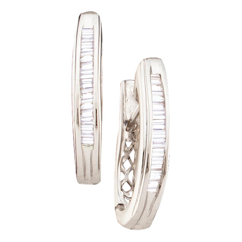 0.27 CTW Diamond Hoop Earrings 14KT White Gold - REF-26Y9X